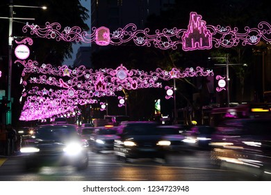 Orchard Road/Singapore - 17 Nov 2018: Christmas light-up at the busy Orchard Road, the main shopping district in Singapore