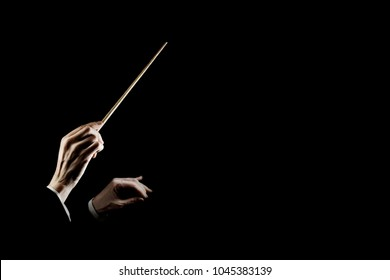 Orchestra conductor music conducting. Hands of conductor with baton isolated on black background