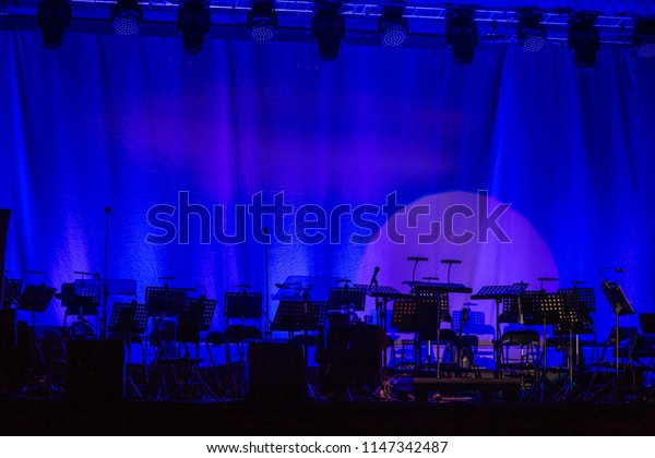 The orchestra without the musicians before the show