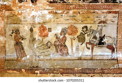 ORCHHA, INDIA - February 11, 2017: Exquisite ancient paintings on walls and ceilings in Laxminarayan Temple, built in 1662 in Orchha and dedicated to a Goddess Laxmi , India