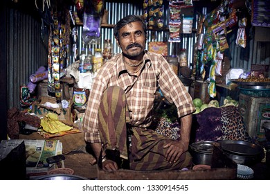 Orchha, India – November 30, 2018: Portrait of unidentified Indian man on nights market. Daily lifestyle in rural area central India.