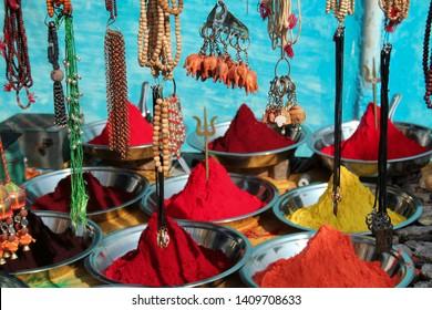 Orchha, Madhya Pradesh, India - October 15, 2008 : street shop selling herbal colours and lockets in orchha, Madhya Pradesh