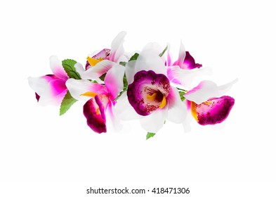 orchid flower print in soft colors made from fabric.
