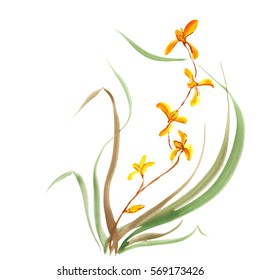Orchid, painted in gouache. Stylized Chinese painting  illustration