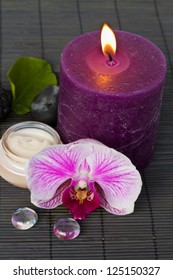 orchid spa with candle