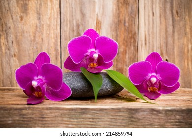 Orchids flowers on wooden background spa massage stones.
