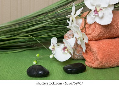 orchids on the towel