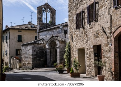ORCIA VALLEY-JUNE 2:typical street in the small village of San Quirico d'Orcia,Tuscany,Italy,on June,2,2017.