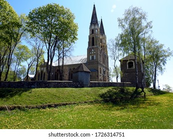 ordained in 1905, the neo-Gothic Catholic church dedicated to finding and raising the Holy Cross in the town of Korycin in the Podlasie region in Poland - Shutterstock ID 1726314751