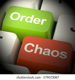 Order Or Chaos Keys Shows Either Organized Or Unorganized 3d Rendering