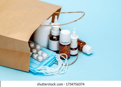 Order medicines online and delivery. Pack of medicines, pills and masks.