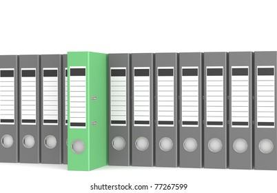 Order. Office folders, one green