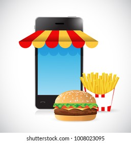 order online burger and fries. mobile concept illustration design isolated over white