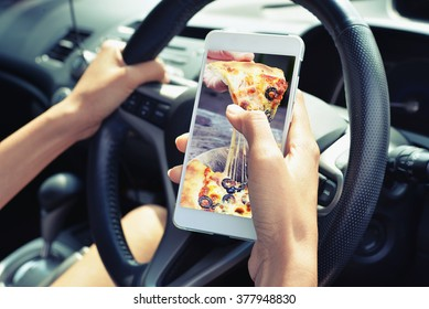 order pizza food on smart phone concept