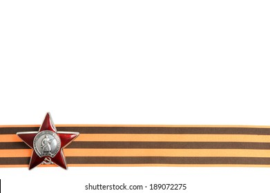 Order of the Red star on Saint George ribbon as horizontal border isolated on white background