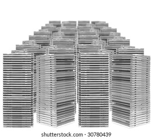 Ordered piles of cases isolated on white background
