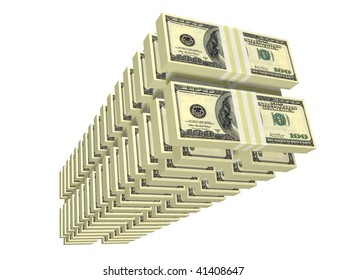 ordered tall stack of bills isolated on white