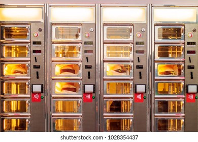 Ordering window with croquette sandwiches of a Dutch snackbar