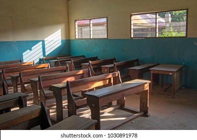An ordinary classroom in an African school.