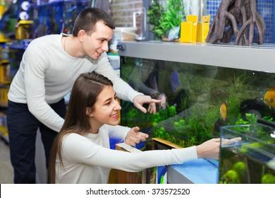Ordinary happy positive smiling customers selecting tropical fish in aquarium tank