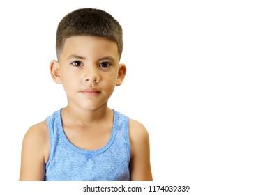 Ordinary latin kid isolated on white