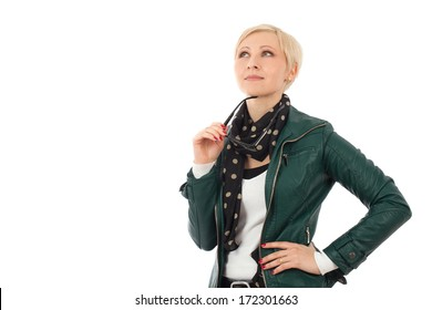 Ordinary young woman  in casual outfit thinking about something