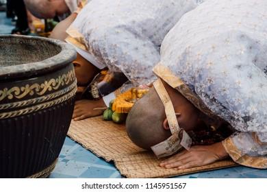 Ordination ceremony in buddhist Thai monk ritual for change man to monk in ordination ceremony in buddhist in Thailand