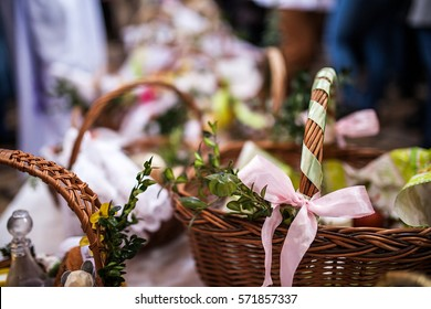 Ordination ceremony of Easter baskets in Polish church in Wroclaw. Collection of different  baskets inside the church, background and blur
