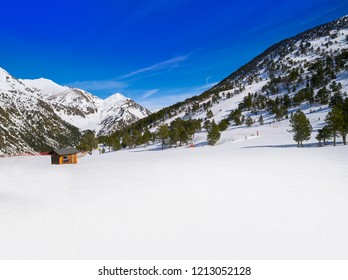 Ordino Arcalis ski resort sector in Andorra at Pyrenees