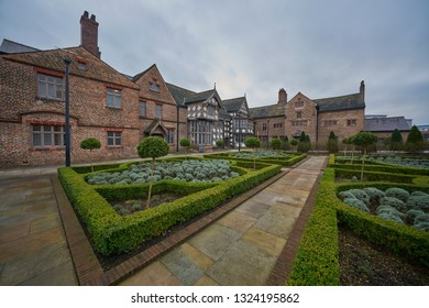 Ordsall, Salford, Greater Manchester, UK - Feb 05 2019: Ordsall Hall Tudor Mansion