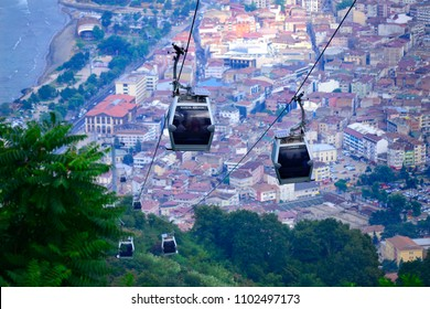 Ordu Boztepe Cable Car.Cable-car ride from the seafront promenade to the gondola station (498m) on Boztepe for breathtaking views of the bay, city and mountains behind/Ordu,Turkey,July 2017