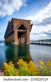 Ore dock Marquette Michigan old structure lake superior