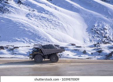 Ore laden haul truck in extreme conditions