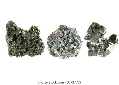 Ore minerals set isolated on white