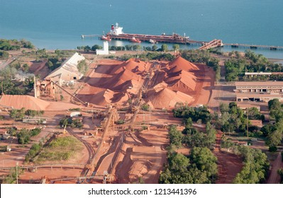 Ore  ship loading bauxite at  Weipa,Cape York,  Queensland,  Australia.