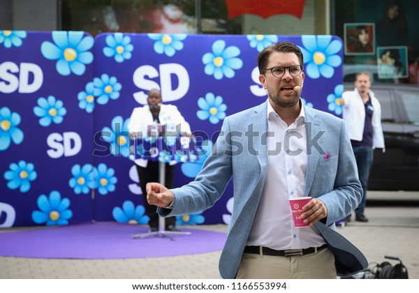 OREBRO, SWEDEN - AUGUST 24, 2018: The Swedish democrats leader Jimmie Akesson holding a public speech at Vaghustorget in Orebro, Sweden