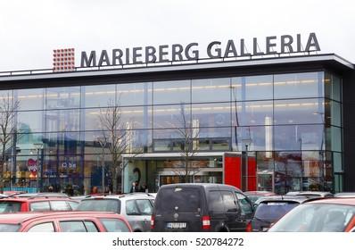 Orebro, Sweden - February 20, 2015: Car parking and exterior of Marieberg shopping center (Marieberg galleria) near the Swedish town Orebro.
