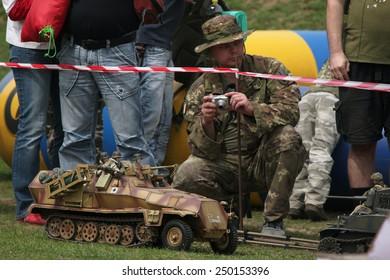 ORECHOV, CZECH REPUBLIC - APRIL 27, 2013: Scale models attend the re-enactment of the Battle of the Bulge (1944) in Orechov near Brno, Czech Republic.