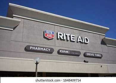 Oregon City, OR, USA - Aug 25, 2020: Close up of the Rite Aid sign seen at a Rite Aid pharmacy with drive thru service in Oregon City. Rite Aid Corporation is an American drugstore chain.