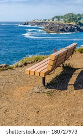 Oregon coast. Picnic bench.