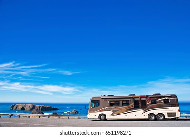 OREGON COAST, USA - September 3, 2009: Recreational vehicle parked alongside the Pacific Ocean
