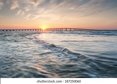 Oregon Inlet Herbert Bonner Bridge Sunset Outer Banks North Carolina