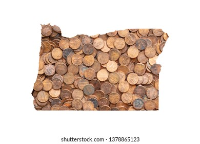 Oregon State Map and Money Concept, Piles of Coins, Pennies