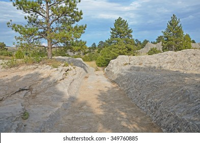 The Oregon Trail ruts in Wyoming, USA - part of the best preserved section of the Oregon Pioneer Trail