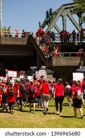 Oregon, United States - May 8 2019 : K-12 Teachers walk out to protest lack of funding for public schools. - Image