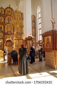Orel, Russia, April 11, 2015: Russian orthodox priest praying in Spaso-Uspensky monastery, Orel vertical