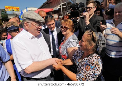 Orel, Russia - August 05, 2016: Orel city day. Vladimir Zhirinovsky talking to woman in city fair