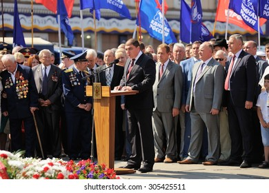 Orel, Russia - August 5, 2015: Potomsky making speech, Stupinand Zuganov standing behind