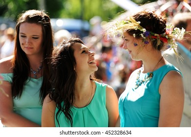 Orel, Russia - July 08, 2016: Russian Valentine Day  - Petr and Fevronia. Smiling girls in turquoise dresses
