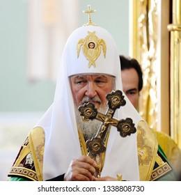 Orel, Russia, July 28, 2016: Russia Christianization anniversary Divine Liturgy. Patriarch Kirill with big cross